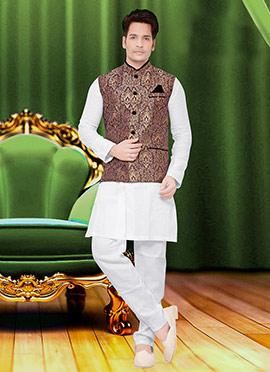 Brown Art Silk Brocade Nehru Jacket