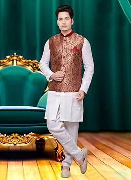 Brown Art Silk Brocade Nehru Jacket