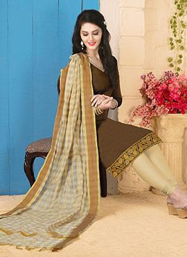 Brown Art Silk Churidar Suit