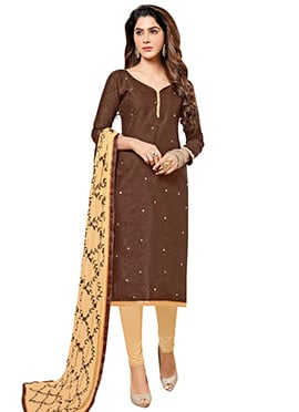 Brown Art Silk Churidar Suit