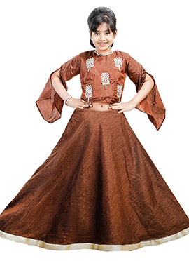 Brown Art Silk Kids A Line Lehenga