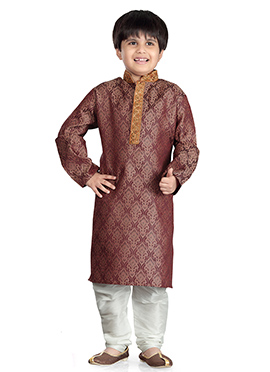 Brown Art Silk Kids Kurta Pyjama