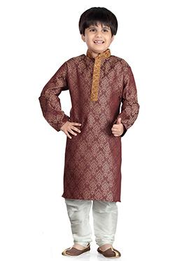Brown Art Silk Kids Kurta Pyjama