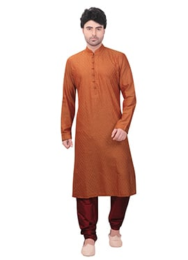 Brown Art Silk Kurta Pyjama