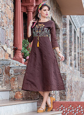 Brown Art Silk Kurti