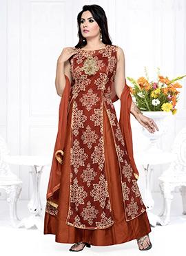 Brown Art Silk Layered Anarkali suit