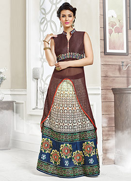 Brown Art Silk Long Choli A Line Lehenga