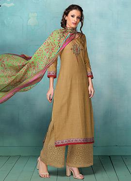 Brown Art Silk Palazzo Suit