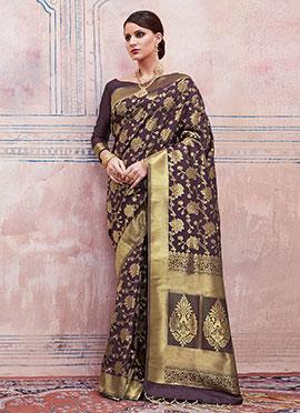 Brown Art Silk Saree