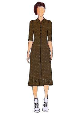 Brown Art Silk Shirt Style Kurti