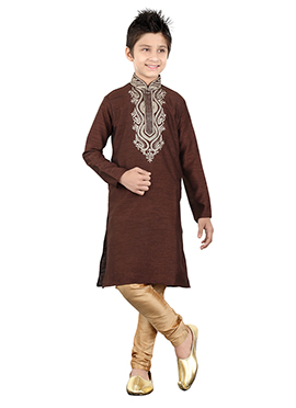 Brown Art Silk Teens Kurta Pyjama