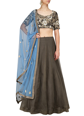 Brown Art Silk Umbrella Lehenga Choli