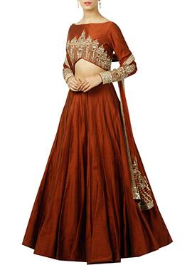 Brown Art Silk Umbrella Lehenga