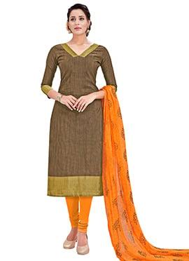 Brown Benarasi Cotton Churidar Suit