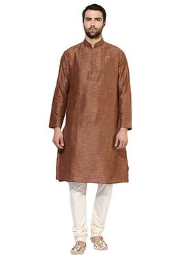 Brown Benarasi Cotton Silk Kurta Pyjama