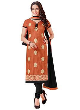 Brown Bhagalpuri Art Silk Churidar Suit