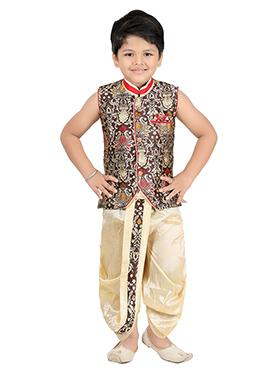 Brown Blended Cotton Kids Dhoti Kurta