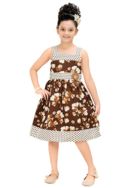 Brown Blended Cotton Kids Gown