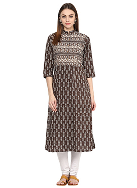Brown Blended Cotton Kurti