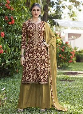 Brown Blended Cotton Palazzo Suit