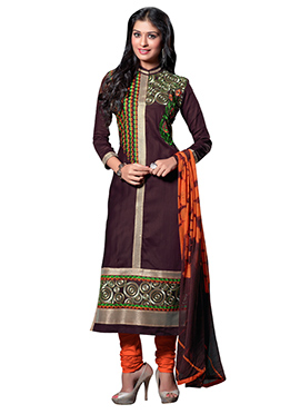 Brown Blended Cotton Straight Suit