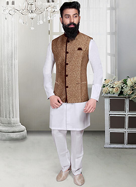 Brown Brocade Foliage Designed Nehru Jacket