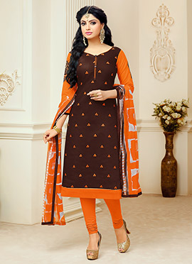 Brown Chanderi Cotton churidar Suit
