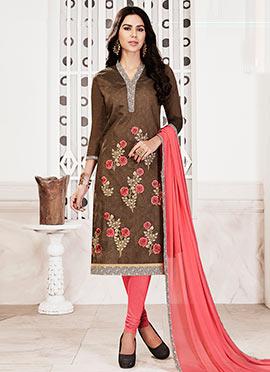 Brown Chanderi Cotton Churidar Suit
