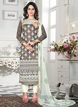 Brown Chanderi Cotton Straight Suit