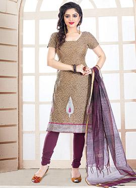 Brown Chanderi silk Churidar Suit