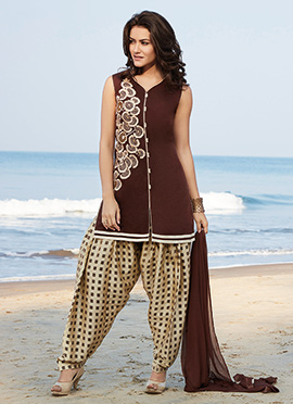 Brown Chanderi Silk Salwar Suit