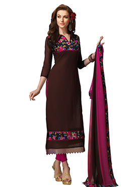 Brown Chanderi Straight Suit