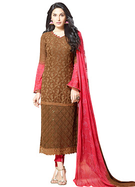 Brown Chiffon Embroidered Straight Suit