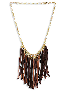 Brown Cluster Leathers Necklace