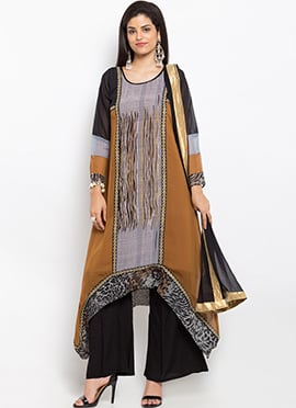 Brown Cotton Asymmetrical Palazzo Suit