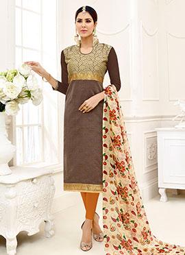 Brown Cotton Churidar Suit