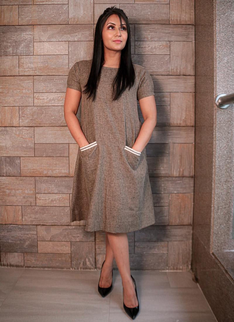 Brown Cotton Dress