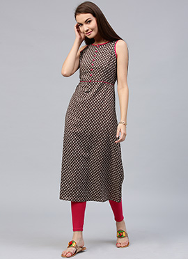 Brown Cotton Knee Length Kurti