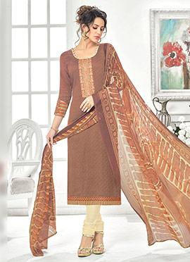 Brown Cotton Rayon Churidar Suit