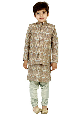 Brown Cotton Silk Kids Bandi Set