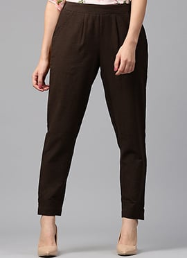 Brown Cotton Straight Pant