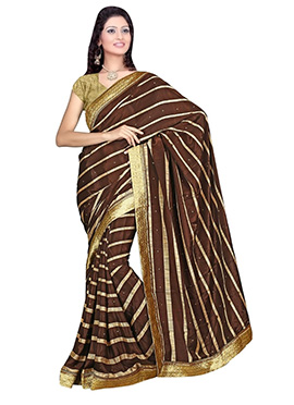 Brown Crepe Saree