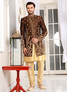 Brown Dhoti Style Layered Indo Western Sherwani