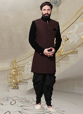 Brown Dhoti Style Indo Western Sherwani
