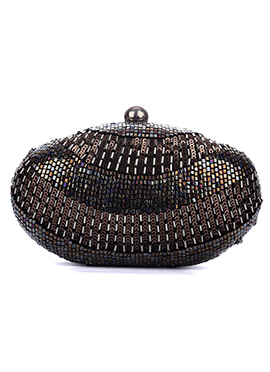 Black N Copper Embellished Stylish Box Clutch