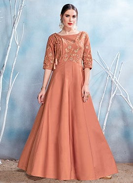 Brown Embroidered Gown
