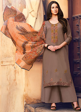 Brown Embroidered Palazzo Suit