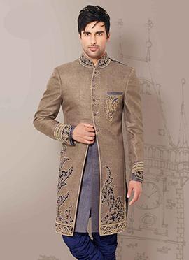 Beige Embroidered Sherwani