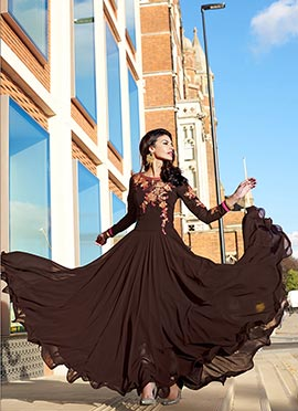 Brown Floor Length Anarkali Suit