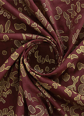 Brown Foil Printed Linen Georgette Fabric